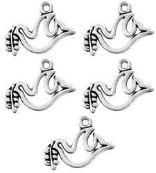 Antique Silver Dove Of Peace Charm  - Set of 5