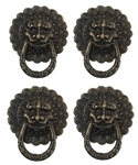 Antiqued Bronze Lion Faced Drawer Pulls - Set of 4