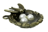 Bronze Swallow, Nest & Pearl Egg Pendant - Set of 3
