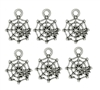Charm Pendant - Set of 6 Silvertone Spider & Web