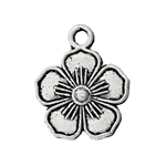 Antique Silver Flower Charms - Set of 5