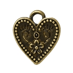 Bronze Tone Heart Charms - Set of 5