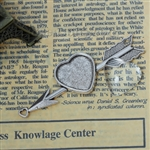 Heart on Arrow Charm With Glass Cabochon - Set of 2
