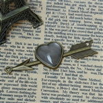 Antique Bronze Heart on Arrow Charms With Glass Cabochons - Set of 2