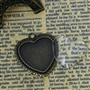 Set of 2 Charm Pendants - Antique Bronze Heart With Glass Cabochons Setting