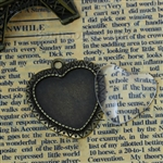 Antique Bronze Heart Charm With Glass Cabochons Set of 2