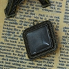 Set of 2 Charm Pendants - Antique Bronze Squares With Glass Cabochons Setting
