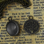 Antique Bronze Circle Charms With Glass Cabochons Setting - Set of 2