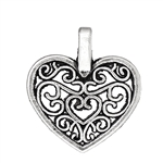 3 Piece Antiqued Silver Heart Charms