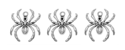 Silver Tone Spider Charms - Set of 3