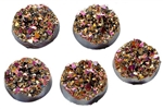 Drusy Resin Dome Seals Cabochon Round Fuchsia- Set of 5