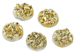 Drusy Resin Dome Seals Cabochon Round Gold 12mm- Set of 5