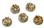 Drusy Resin Dome Seals Cabochon Round Gold 8mm- Set of 5