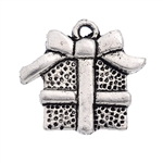 Antiqued Silver Tone Christmas Gift Box Charm - Set of 5