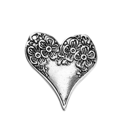 Antique Silver Heart with Flower Charm - Set of 3