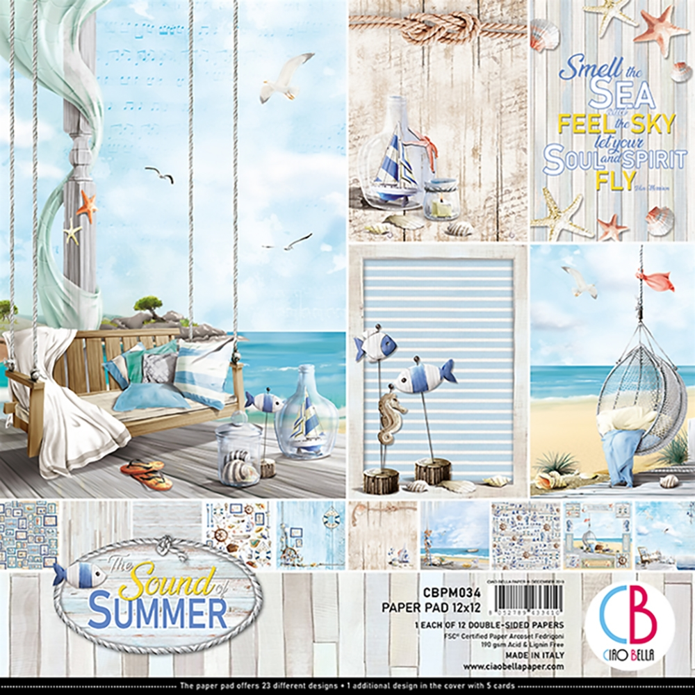 """NEW RELEASE The Sound of Summer Ciao Bella Papers 6 x 6/"""" Paper Pad"""