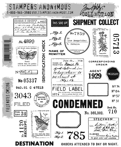 Stampers Anonymous Tim Holtz Stamp Set - Field Notes CMS396