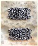 2 Piece Antiqued Silver Flower Charm