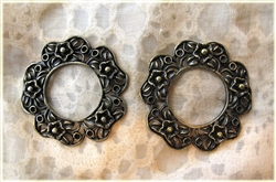 2 Piece Antique Style Bronze Flower Embellishment