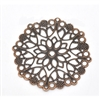 4 Piece Antiqued Round Copper Filigree Pieces - 50mm