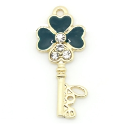 Four Leaf Clover Key Gold Plated Clear Rhinestone