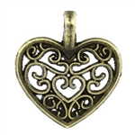 Antiqued Bronze Heart Charms - Set of 3