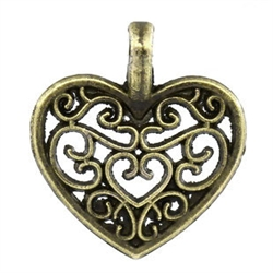 3 Piece Antiqued Bronze Heart Charms