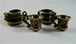 Antique Bronze Cup Charms - Set of 4
