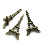 3 Piece Antiqued Bronze Tone Eiffel Tower Charms