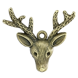 Large Antiqued Bronze Christmas Deer Head Charm - Set of 2