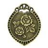 2 Piece Antiqued Bronze Oval Carved Flower Charms