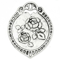Antiqued Silver Oval Carved Flower Charms - Set of 2