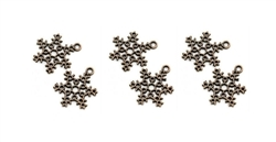 Copper Snowflake Charm - Set of 6
