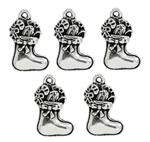Silver Tone Christmas Stockings with Bow - Set of 5