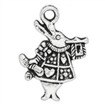 Antique Silver White Rabbit Charms - Set of 6