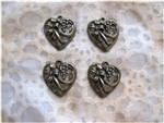 Antiqued Bronze Filigree Heart Charms - Set of 4