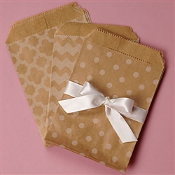 Patterned Kraft Paper Bags - Set of 15