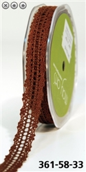 May Arts 5/8 Inch Crochet Ribbon - Brown