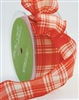 May Arts 1.5 Inch Red / Ivory Plaid (Wired) Ribbon