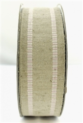 May Arts 1.5 Inch Natural Burlap/Pink Stripe Edge/Wired Ribbon