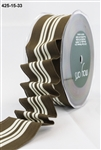 May Arts 1.5 inch Solid/Center Stripes Wired Ribbon Brown/Ivory