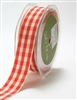 May Arts 7/8 Inch Solid Ivory Checkered Ribbon - Red