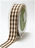 May Arts 7/8 Inch Solid Ivory Checkered Ribbon - Brown 2 Yards