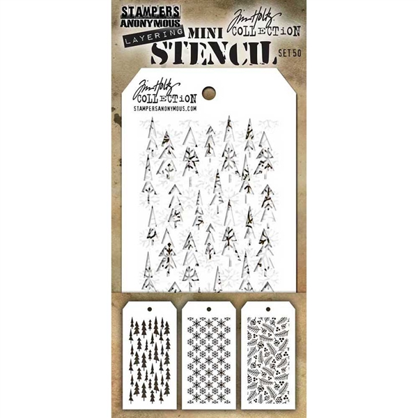 Stampers Anonymous Tim Holtz Mini Layering Stencil Set #50 MST050