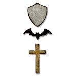 Sizzix Movers & Shapers Magnetic Die Set 3PK - Tiny Bat, Cross & Shield by Tim Holtz 660968