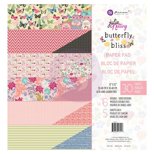 Prima Julie Nutting Butterfly Bliss Collection - 12x12 Paper Pad 913113