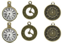 Time Pieces - A Set of Clocks Antiqued Bronze Charms for Jewelry Making, Scrapbooking and Mixed Media
