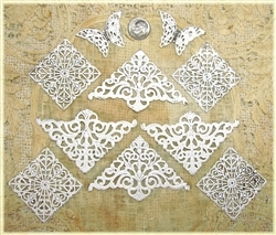 Shabby Paper Crafting Embellishments - White Filigree Metals