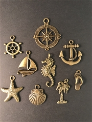 Seaside Charm Set - Antiqued Bronze Charms for Jewelry Making, Scrapbooking and Mixed Media