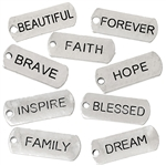 Silvertone Word Charms - Set of 9